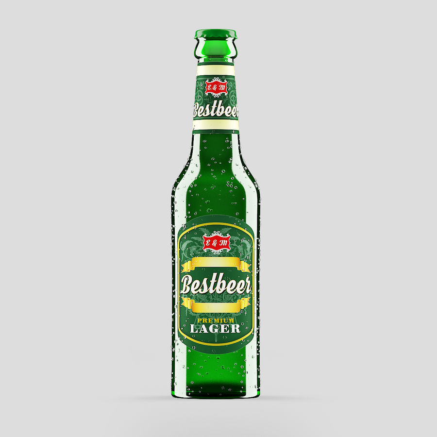 Green Beer Bottle royalty-free 3d model - Preview no. 1