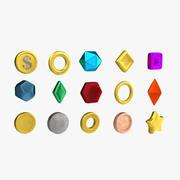 低聚硬币和宝石 3d model