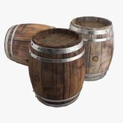 Old wine barrel Set 3d model