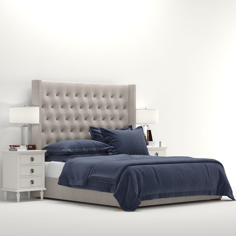 Rh Adler Tufted Fabric Bed 3d Model 18 Max Obj Fbx Free3d