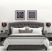 RH Warner Tufted Fabric Bed 3d model