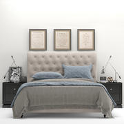 RH Chesterfield Tufted Fabric Bed 3d model