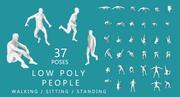 Low Poly People (walking, running,sitting, standing) 3d model