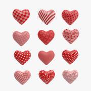 Corações estampados Low Poly 3d model