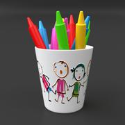 Bägare med pennor 3d model