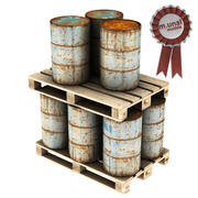 Barrel and Pallet 3d model