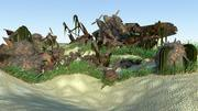 Wrecked plane and mines 3d model