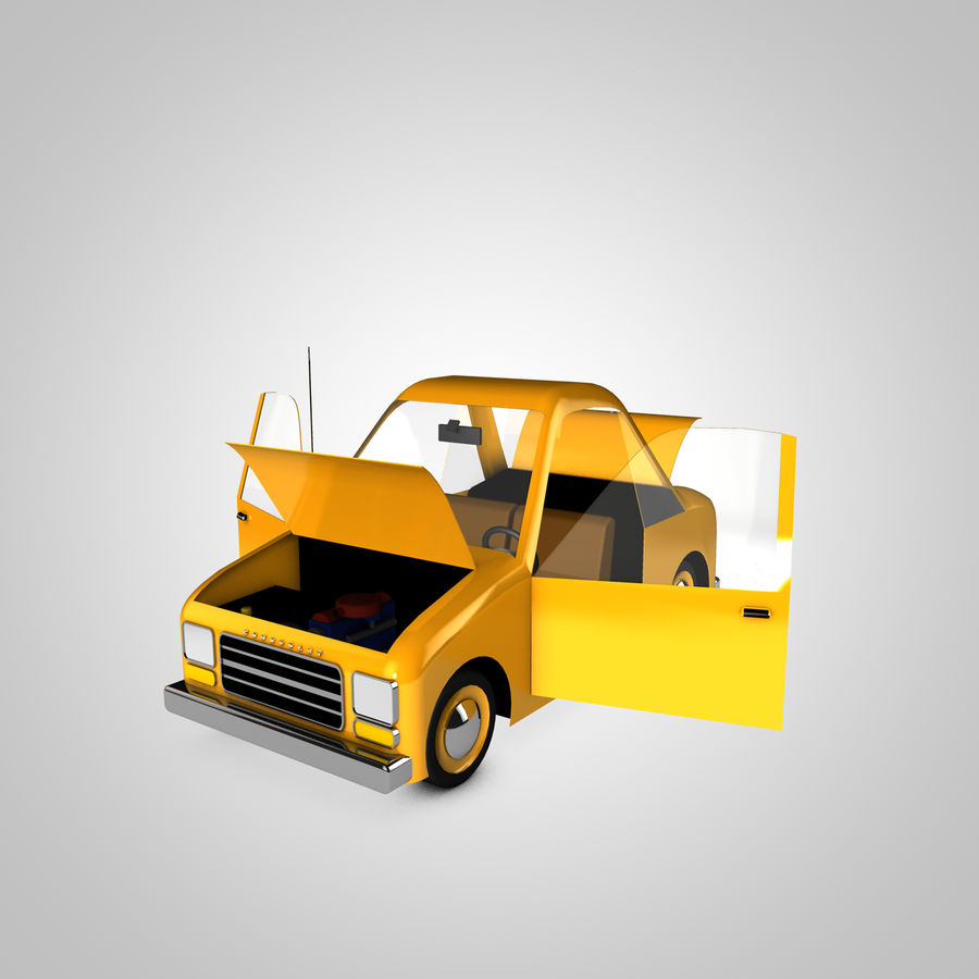 Toon Car Canardly royalty-free 3d model - Preview no. 19