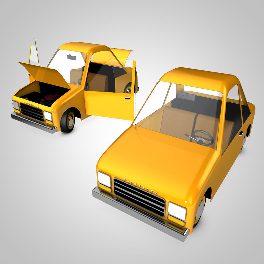 Toon Car Canardly royalty-free 3d model - Preview no. 1