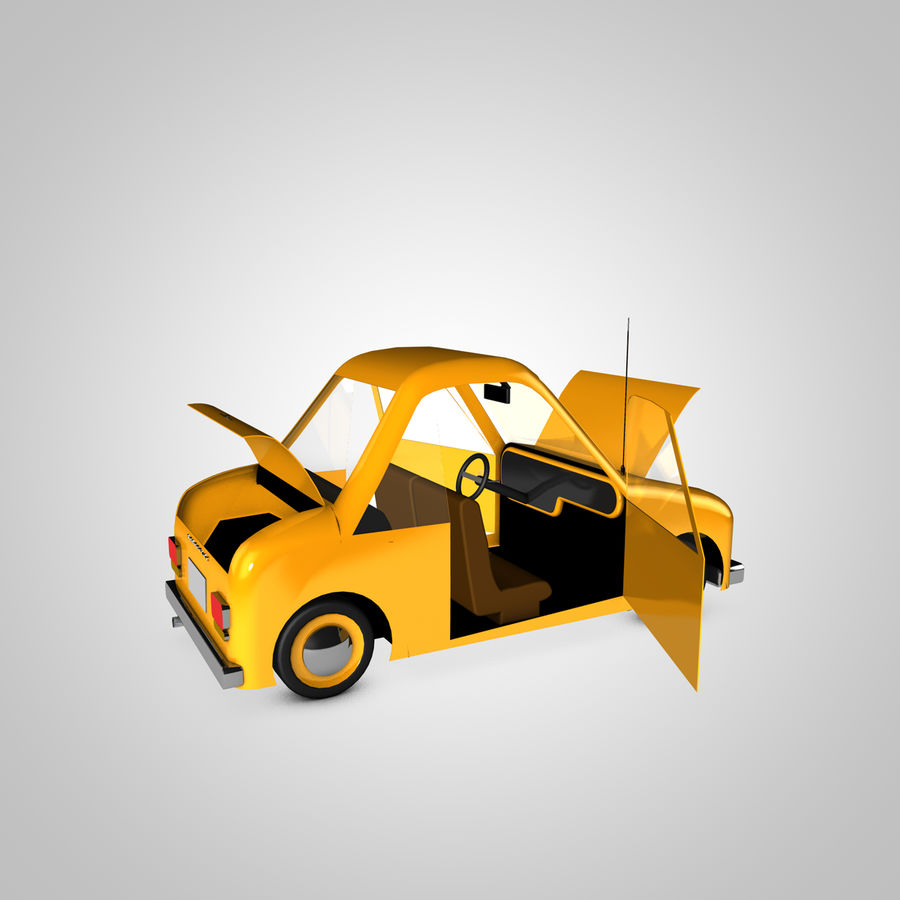 Toon Car Canardly royalty-free 3d model - Preview no. 10