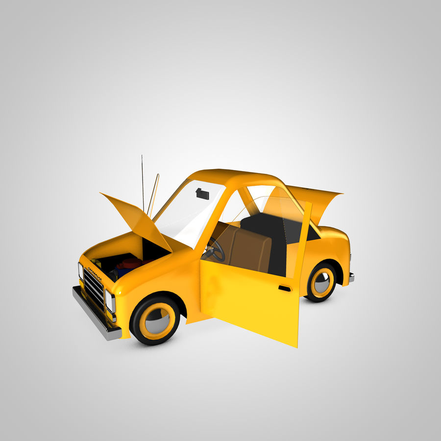 Toon Car Canardly royalty-free 3d model - Preview no. 17