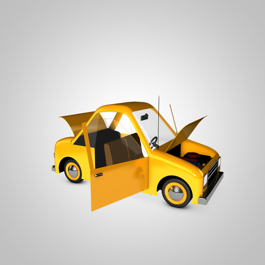 Toon Car Canardly royalty-free 3d model - Preview no. 8