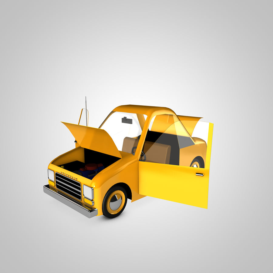 Toon Car Canardly royalty-free 3d model - Preview no. 18