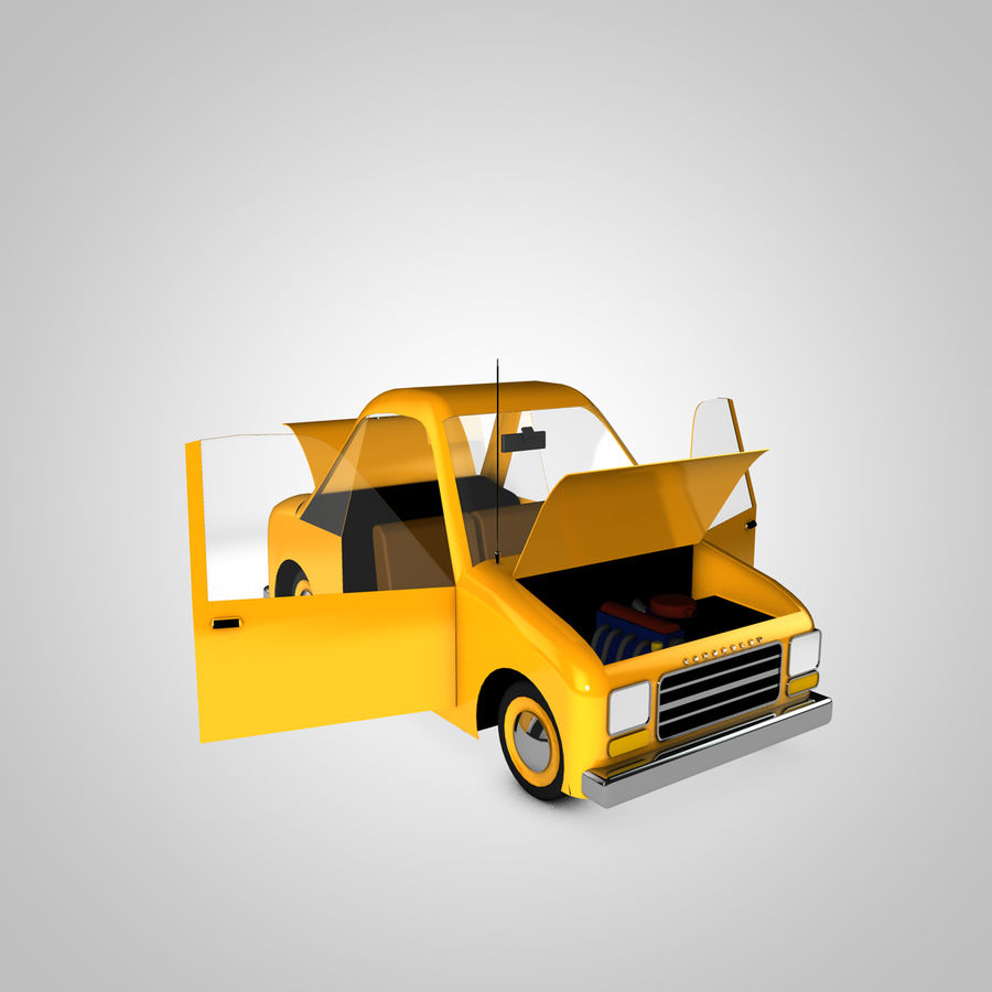 Toon Car Canardly royalty-free 3d model - Preview no. 7
