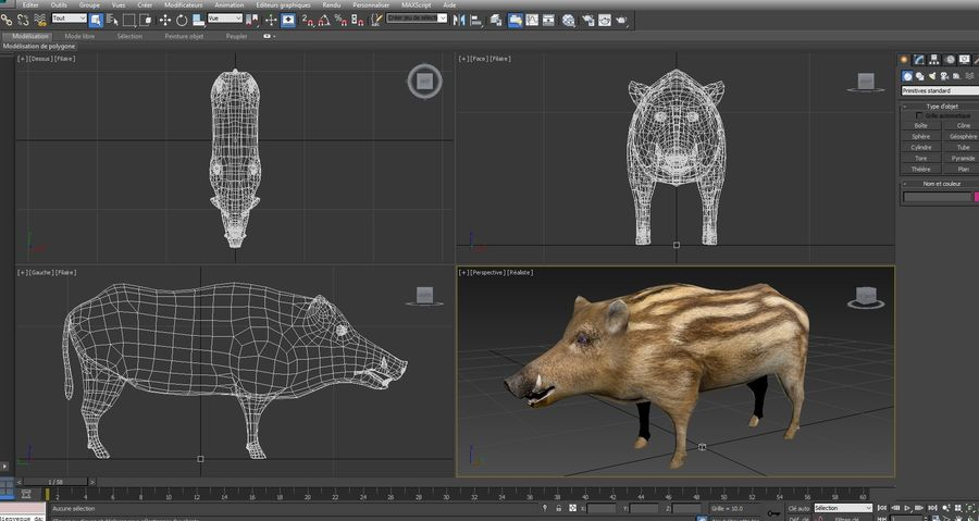 Cinghiale royalty-free 3d model - Preview no. 23