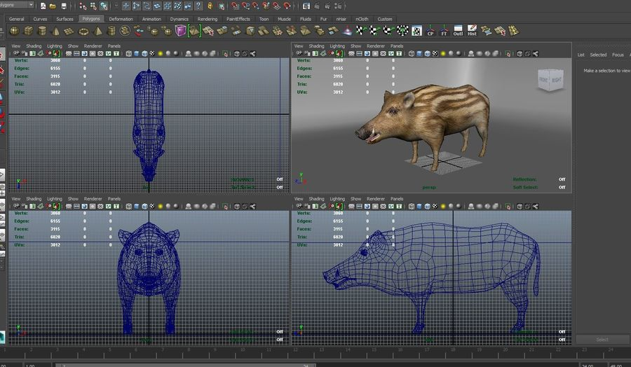 Cinghiale royalty-free 3d model - Preview no. 22
