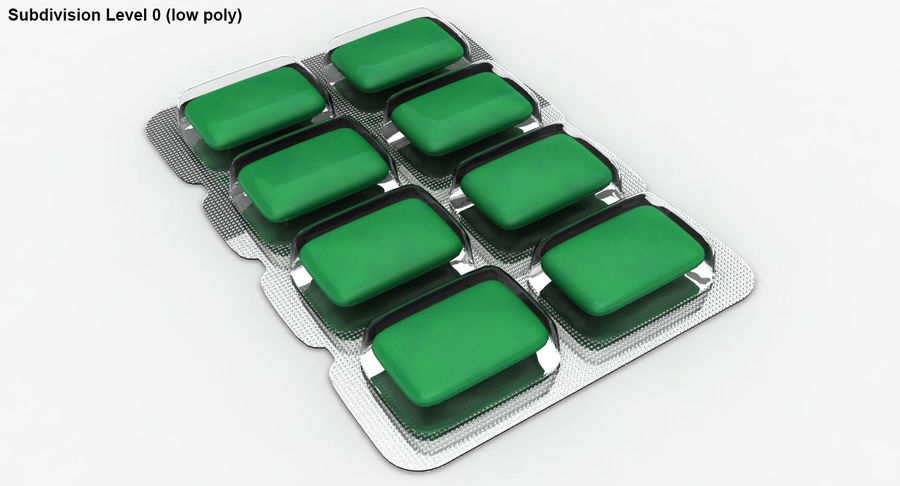 Chewing Gum (Green) royalty-free 3d model - Preview no. 22
