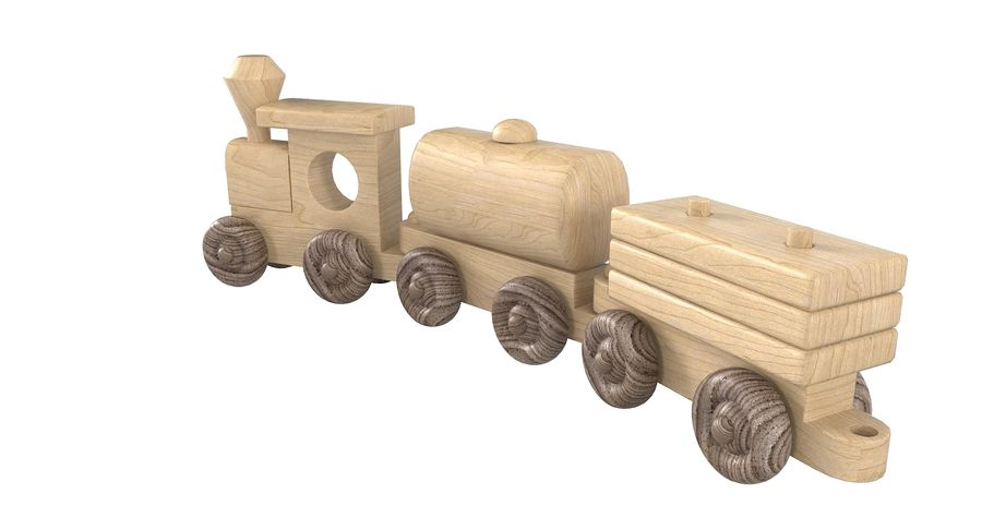 Wooden Toy Train royalty-free 3d model - Preview no. 10