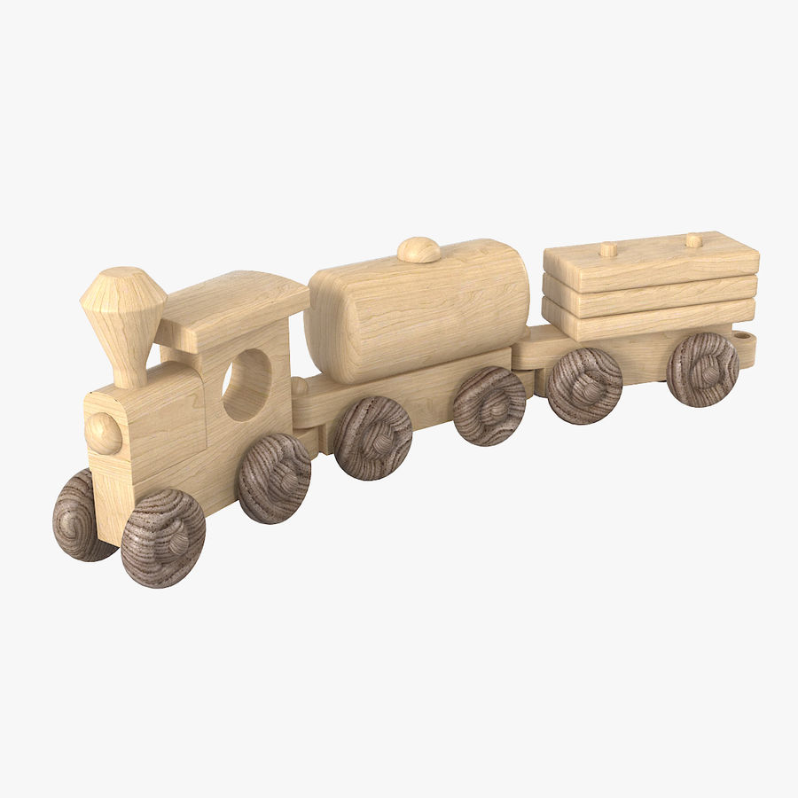 Wooden Toy Train royalty-free 3d model - Preview no. 1