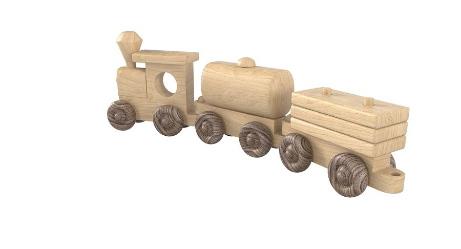 Wooden Toy Train royalty-free 3d model - Preview no. 7