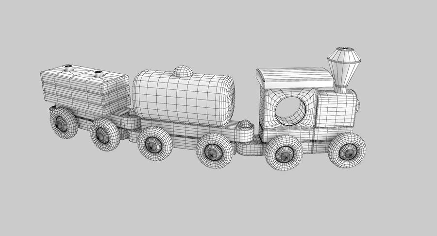 Wooden Toy Train royalty-free 3d model - Preview no. 12
