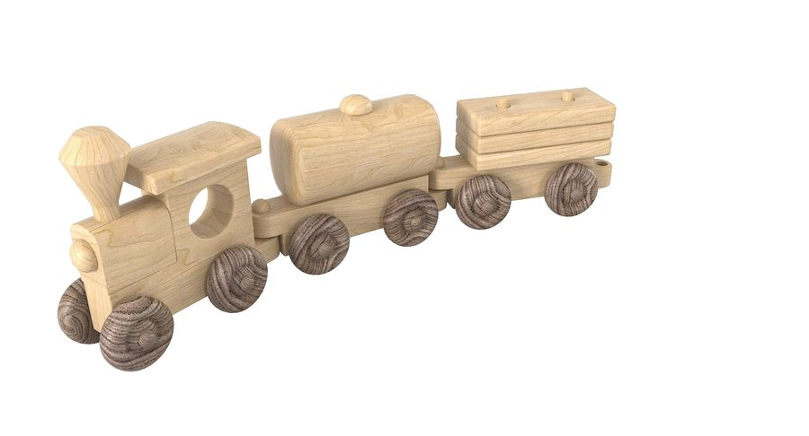 Wooden Toy Train royalty-free 3d model - Preview no. 8