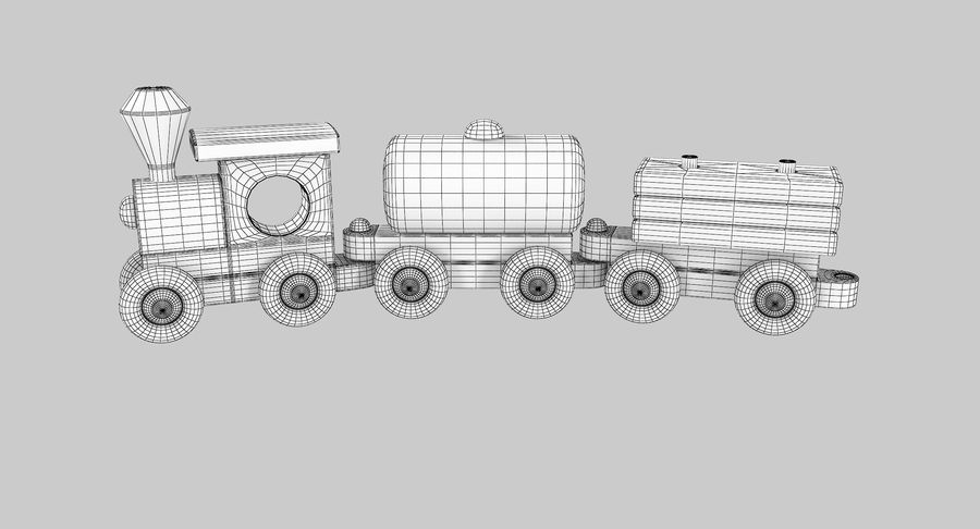 Wooden Toy Train royalty-free 3d model - Preview no. 13