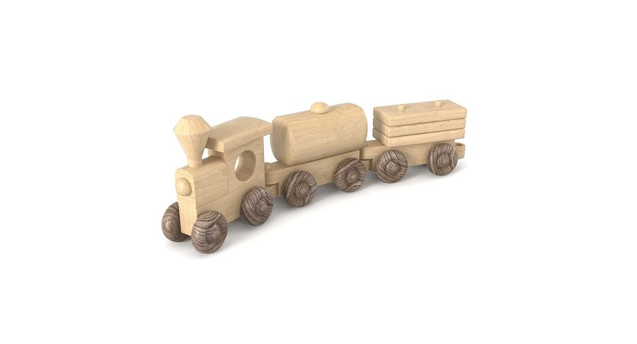 Wooden Toy Train royalty-free 3d model - Preview no. 3
