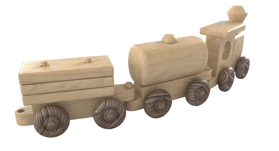Wooden Toy Train royalty-free 3d model - Preview no. 9