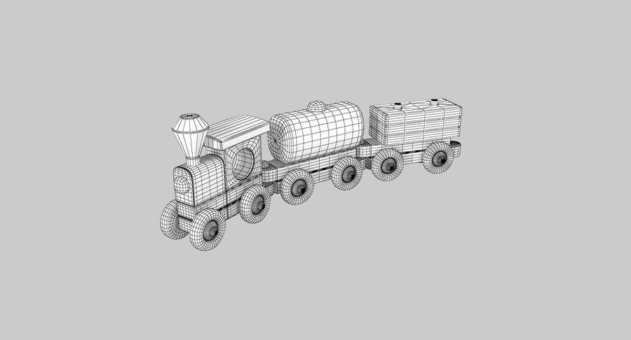 Wooden Toy Train royalty-free 3d model - Preview no. 11