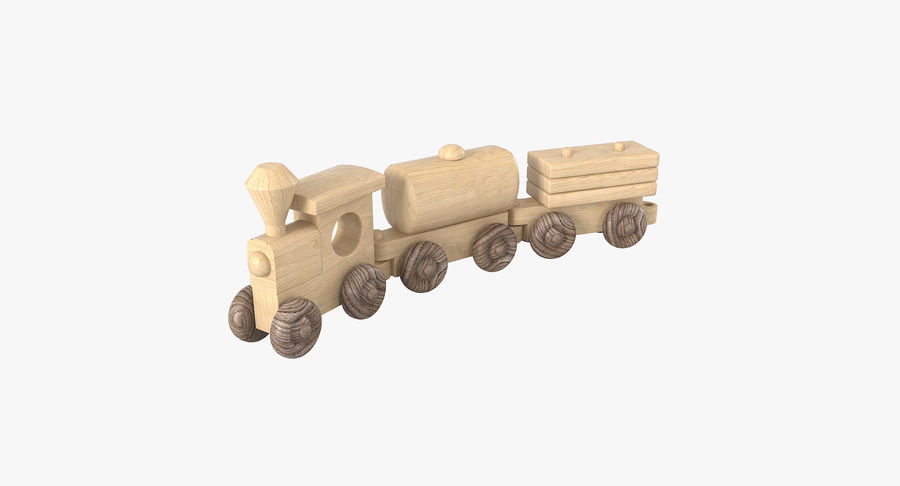 Wooden Toy Train royalty-free 3d model - Preview no. 2