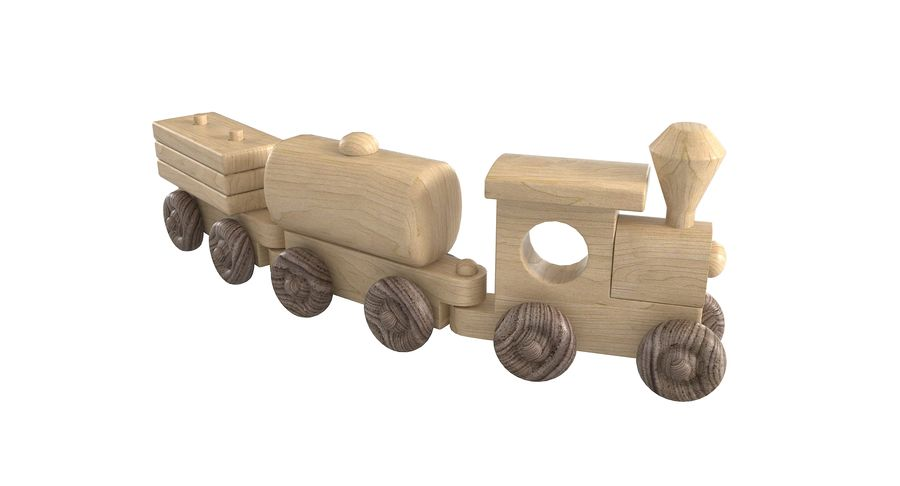 Wooden Toy Train royalty-free 3d model - Preview no. 4