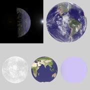 구름과 지구 / 지형 / 분위기 3d model