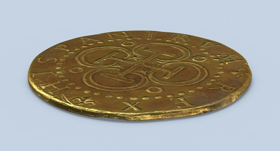 Gold Coin Dirty 2 Flat royalty-free 3d model - Preview no. 3