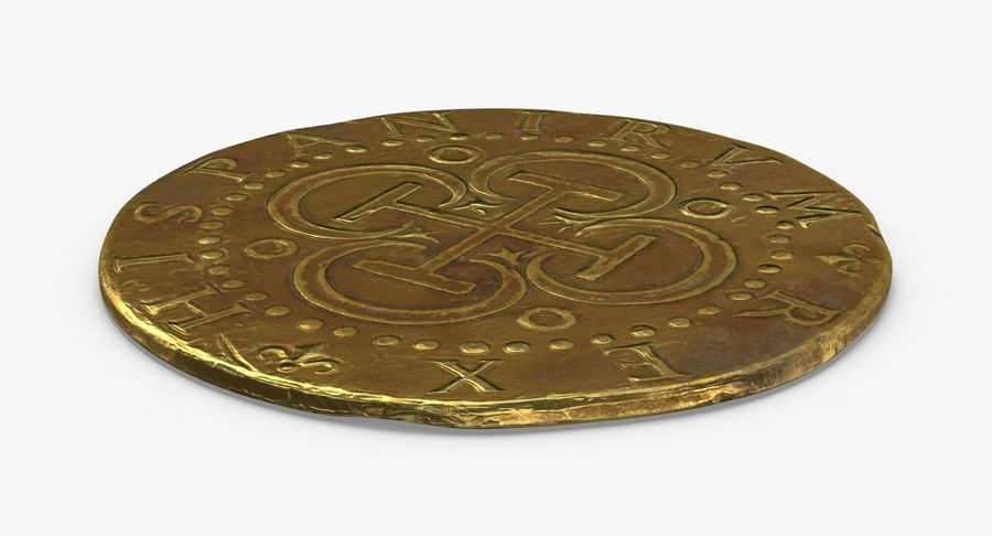 Gold Coin Dirty 2 Flat royalty-free 3d model - Preview no. 2