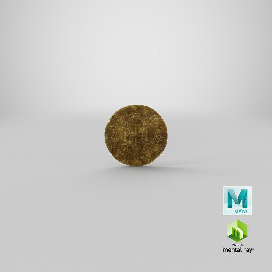 Gold Coin Dirty 2 Flat royalty-free 3d model - Preview no. 20