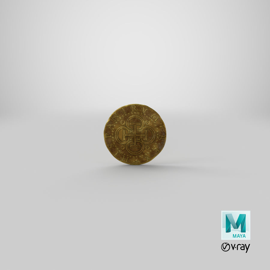 Gold Coin Dirty 2 Flat royalty-free 3d model - Preview no. 19