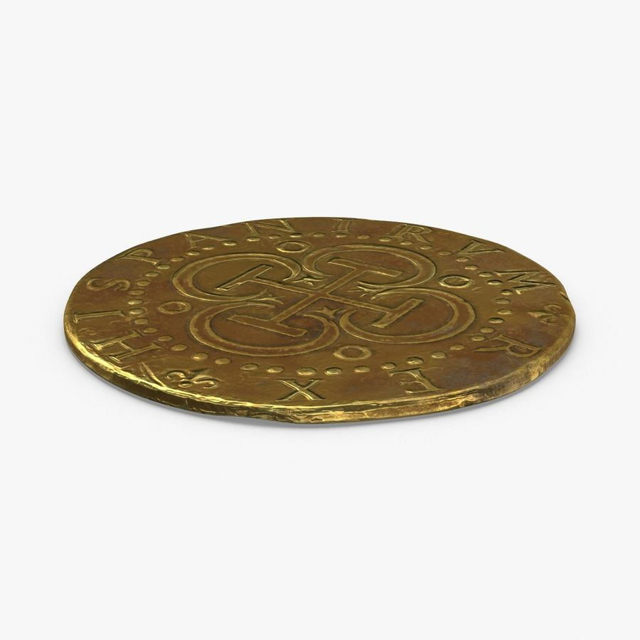 Gold Coin Dirty 2 Flat royalty-free 3d model - Preview no. 1