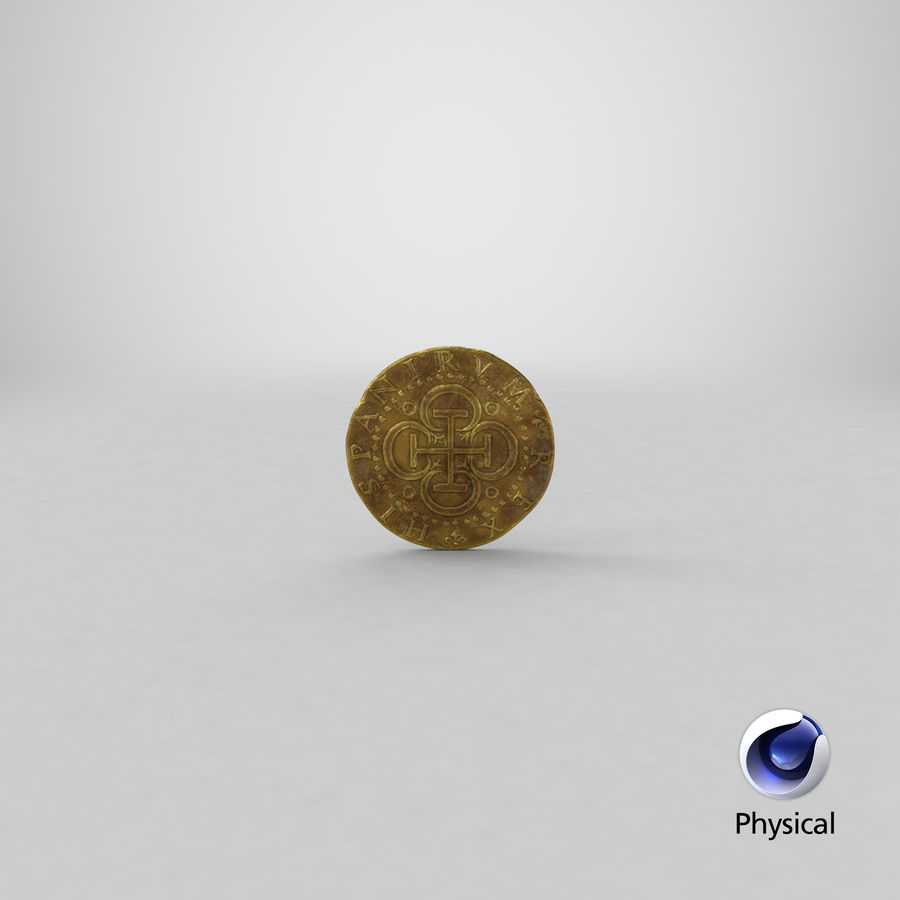 Gold Coin Dirty 2 Flat royalty-free 3d model - Preview no. 23