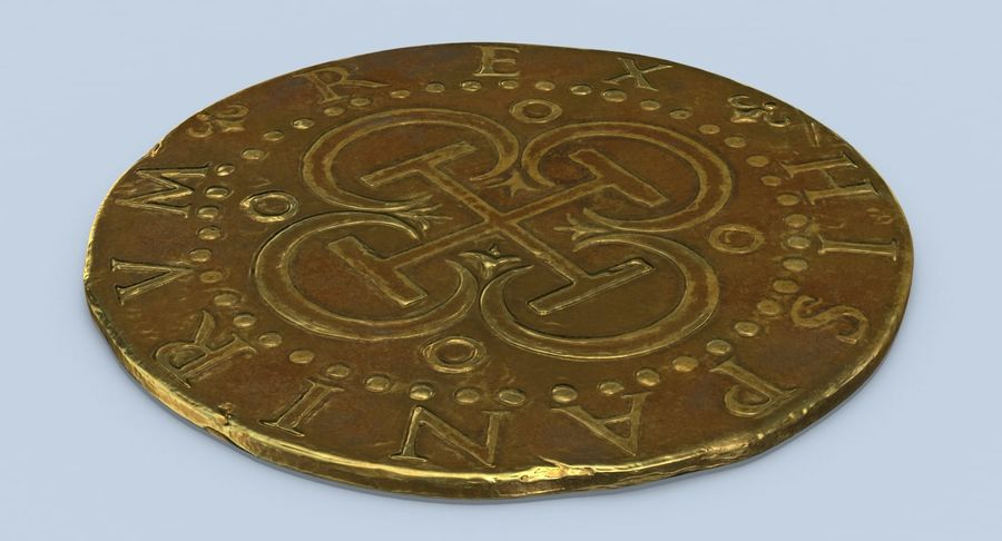 Gold Coin Dirty 2 Flat royalty-free 3d model - Preview no. 8