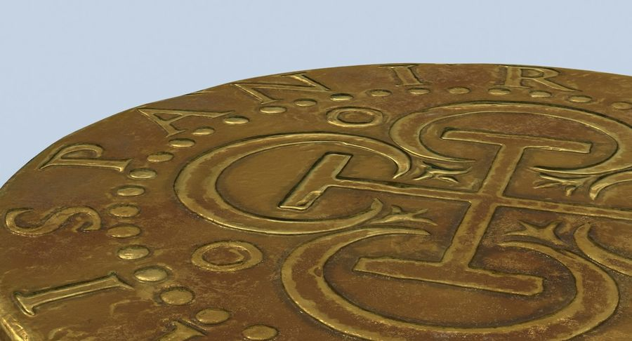 Gold Coin Dirty 2 Flat royalty-free 3d model - Preview no. 10