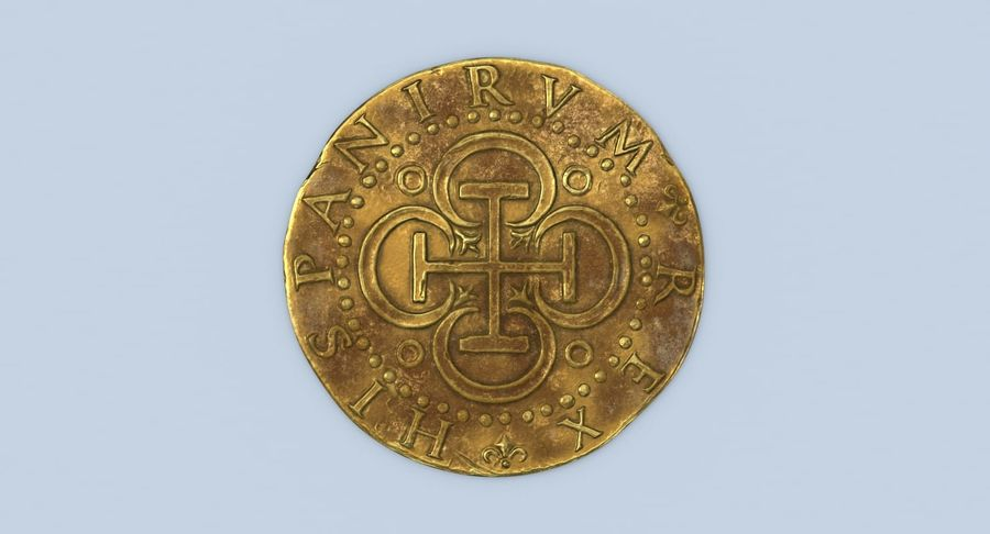 Gold Coin Dirty 2 Flat royalty-free 3d model - Preview no. 5