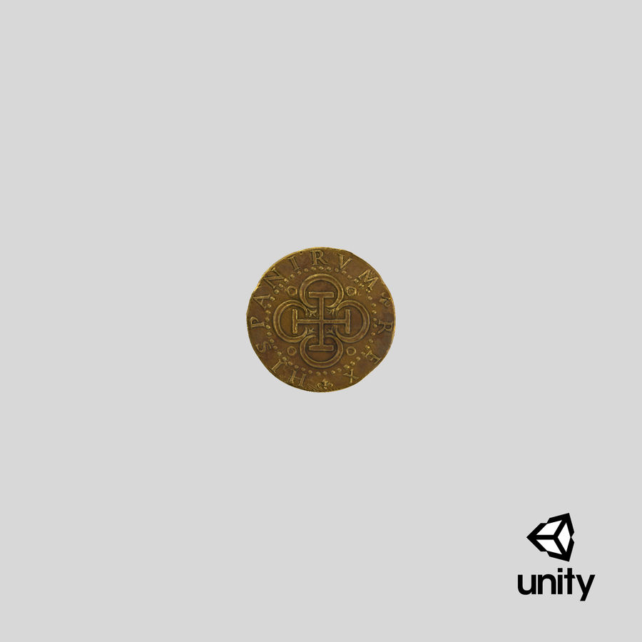 Gold Coin Dirty 2 Flat royalty-free 3d model - Preview no. 25