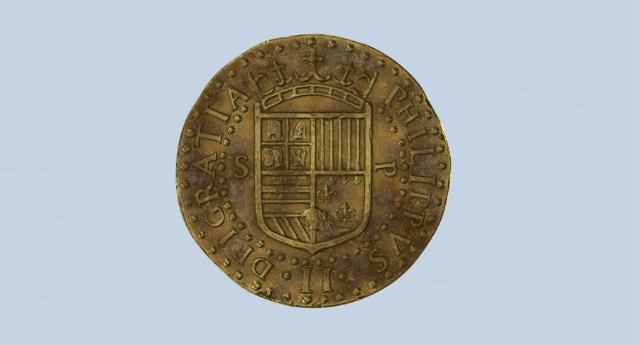 Gold Coin Dirty 2 Flat royalty-free 3d model - Preview no. 11