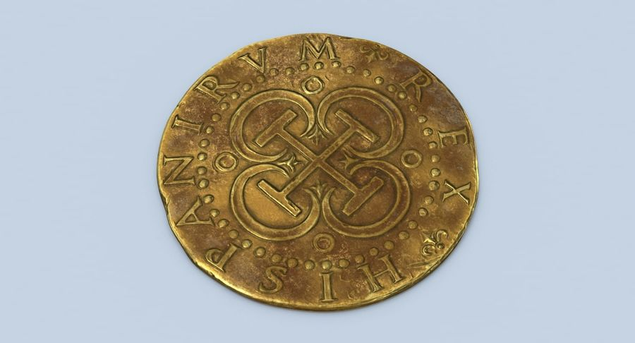 Gold Coin Dirty 2 Flat royalty-free 3d model - Preview no. 4