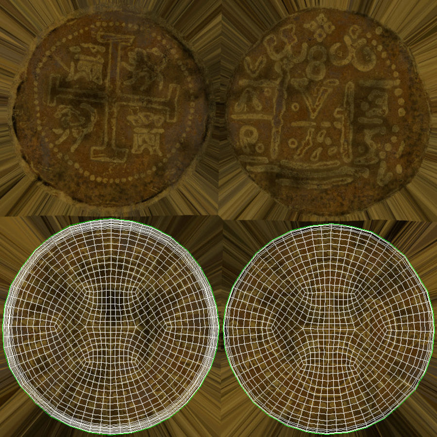 Gold Coin Dirty 2 Flat royalty-free 3d model - Preview no. 18