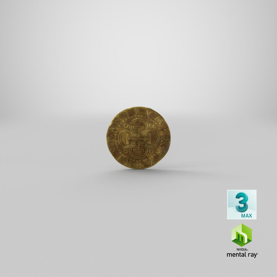 Gold Coin Dirty 2 Flat royalty-free 3d model - Preview no. 22