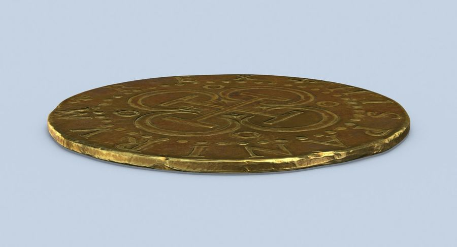 Gold Coin Dirty 2 Flat royalty-free 3d model - Preview no. 6
