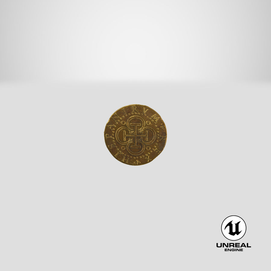 Gold Coin Dirty 2 Flat royalty-free 3d model - Preview no. 24