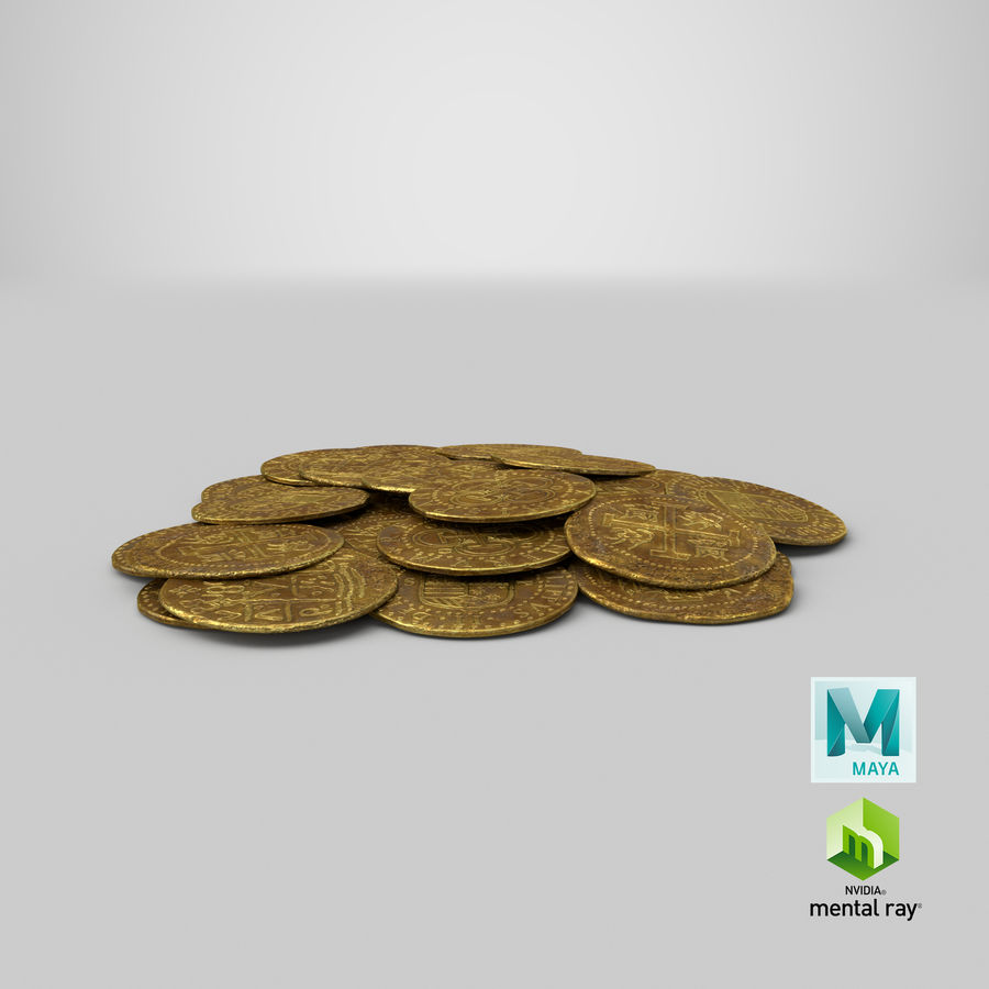 Gold Coin Dirty 1 Flat royalty-free 3d model - Preview no. 20
